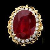 14k Yellow Gold 16.00ct Ruby 0.80ct Diamond Ring