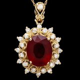 14k Gold 5.00ct Ruby 0.60ct Diamond Pendant