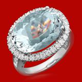 14k Gold 10.99ct Aquamarine 1.10ct Diamond Ring
