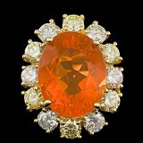 14k Yellow Gold 6.00ct Opal 2.50ct Diamond Ring