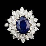 14k Gold 2.00ct Sapphire 1.45ct Diamond Ring