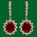 14k 13.50ct Ruby 1.70ct Diamond Earrings
