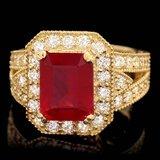 14k Yellow Gold 4.50ct Ruby 1.30ct Diamond Ring