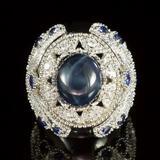 14K Gold 11.61ct Star Sapphire, 1.38ct Sapphire 1.55ct Diamond Ring