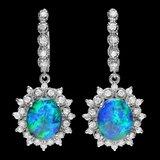 14k Gold 5.00ct Opal 1.65ct Diamond Earrings