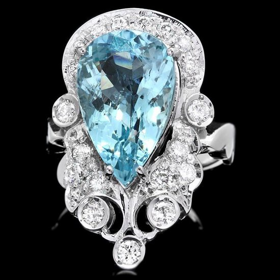 14k Gold 4.50ct Aquamarine 0.75ct Diamond Ring