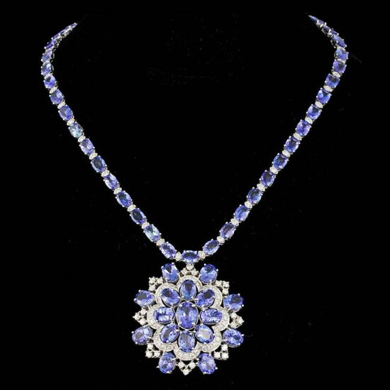 14k 53.00ct Tanzanite 5.20ct Diamond Necklace