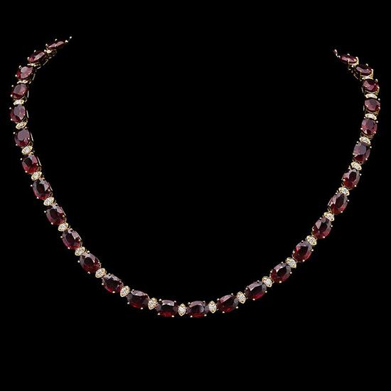 14K Gold 61.41ct Ruby & 2.21ct Diamond Necklace