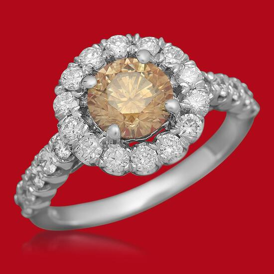 14K Gold 1.30ct Fancy Color Diamond 2.25ct Diamond Ring