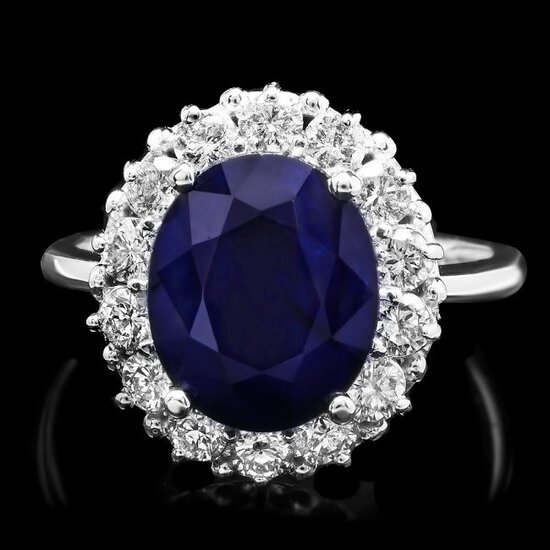 14k Gold 5.00ct Sapphire 1.00ct Diamond Ring