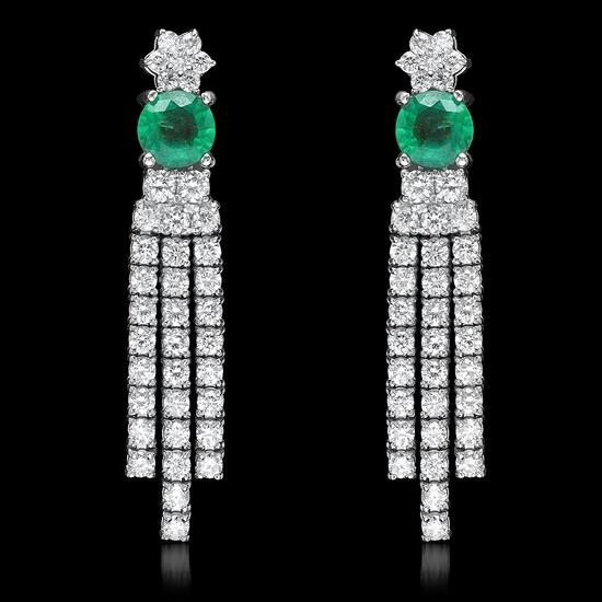 14k White Gold 1.70ct Emerald 2.62ct Diamond Earrings