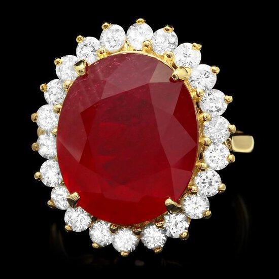 14k Yellow Gold 14ct Ruby 1.50ct Diamond Ring