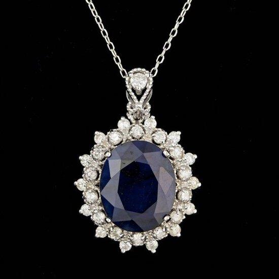 14k Gold 8.00ct Sapphire 0.80ct Diamond Pendant