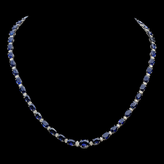 14K Gold 38.53ct Sapphire 1.70ct Diamond Necklace