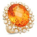 14K Gold 15.25ct Citrine 1.35cts Diamond Ring
