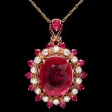 14k Rose Gold 4.6ct Ruby 0.40ct Diamond Pendant