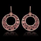 14K Rose Gold, 9.50cts Ruby & 7.87cts Diamond Earrings