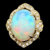14k Yellow Gold 14.00ct Opal 0.70ct Diamond Ring