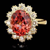 14k Gold 5ct Tourmaline 1.30ct Diamond Ring