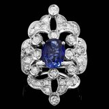 14k Gold 2.00ct Sapphire 1.30ct Diamond Ring