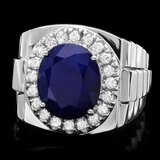 14k Gold 8.00ct Sapphire 0.70ct Diamond Mens Ring