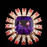 14k Rose Gold 7.50ct Amethyst 1.00ct Diamond Ring
