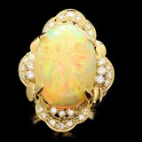 18k Yellow Gold 11.00ct Opal 0.80ct Diamond Ring