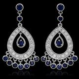 14K Gold 3.01ct Sapphire 1.42ct Diamond Earrings