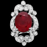 14k White Gold 11.00ct Ruby 1.35ct Diamond Ring