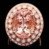 14k Rose 10.00ct Morganite 1.60ct Diamond Ring