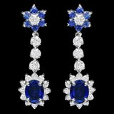 14k Gold 3.85ct Sapphire 2ct Diamond Earrings