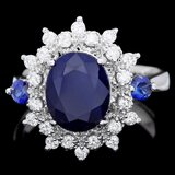 14k White Gold 3.8ct Sapphire 0.50ct Diamond Ring