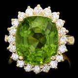 14k Gold 9.00ct Peridot 1.00ct Diamond Ring