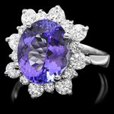 14k White Gold 5ct Tanzanite 1.20ct Diamond Ring