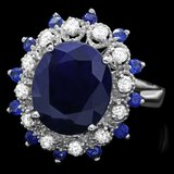 14k White Gold 5.4ct Sapphire 0.35ct Diamond Ring