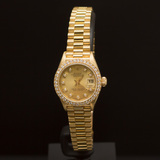 Rolex 18K Gold Presidential 26mm Diamond Dial Diamond Bezel Women's Wristwatch