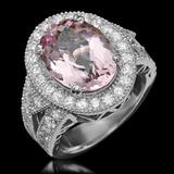 14K Gold 5.57ct Morganite 1.74ct Diamond Ring