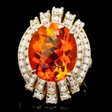 14k Gold 9.50ct Citrine 1.90ct Diamond Ring