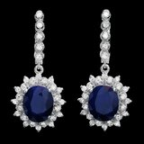 14k Gold 10.00ct Sapphire 1.70ct Diamond Earrings