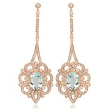 14K Rose Gold, 7.59cts Aquamarine, 2.63cts Diamond Earring