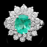 14k White Gold 1.80ct Emerald 1.40ct Diamond Ring