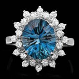 14k White Gold 3.80ct Topaz 0.65ct Diamond Ring