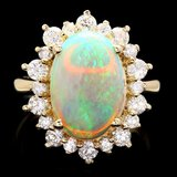 14k Yellow Gold 3.00ct Opal 1.30ct Diamond Ring