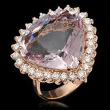 14K Gold 17.17ct Kunzite 1.21ct Diamond Ring