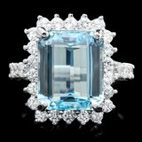 14k Gold 6.00ct Aquamarine 1.00ct Diamond Ring