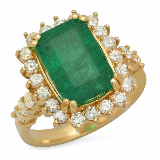 14K Gold 4.20ct Emerald 1.00ct Diamond Ring