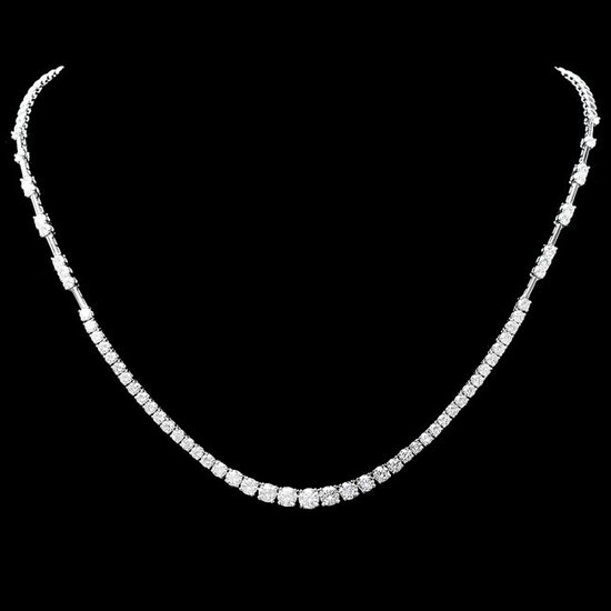 18k White Gold 6.00ct Diamond Necklace