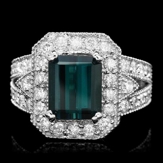 14k Gold 3.50ct Tourmaline 1.35ct Diamond Ring