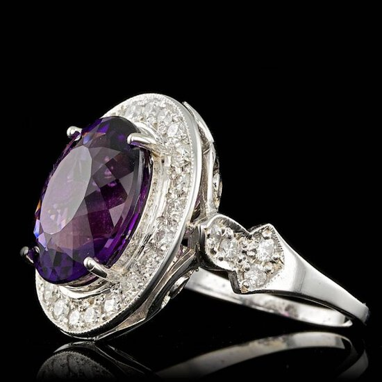 14k Gold 7.00ct Amethyst 1.90ct Diamond Ring