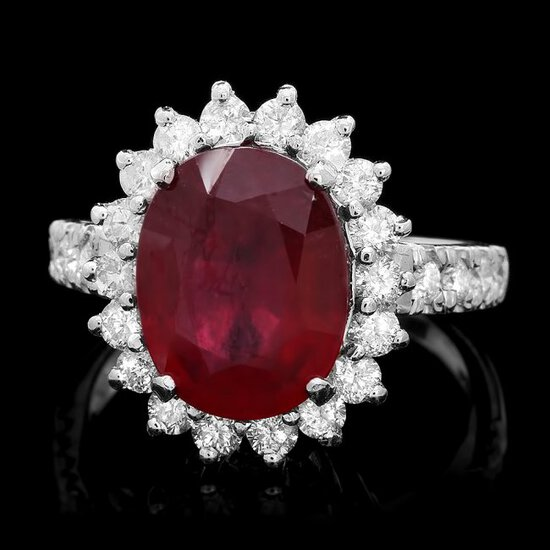 14k White Gold 5.00ct Ruby 1.15ct Diamond Ring